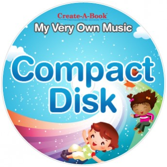 Compact Disc artwork for My Very Own Music, has two childrent slideing down a rainbow